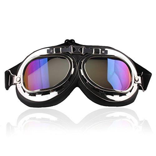 ZUMUii Butterme RAF Pilot Motociclismo Motocross Scooter Cruisers Chopper Moscas Gafas de Seguridad Gafas de Protección Deportiva Sun UV Wind Eye Protect Gafas de Casco(Vistoso)