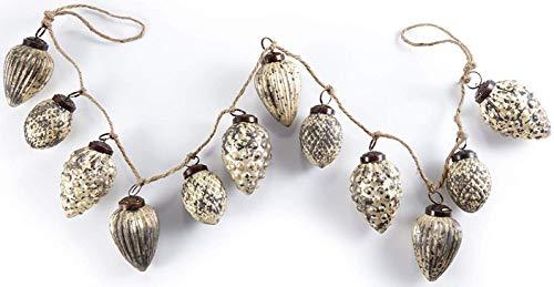 HEITMANN DECO Natale - Ghirlanda di Perle di Vetro Dorato a Forma di pigne - Ghirlanda Decorativa per Alberi di Natale - Decorazione Natalizia.
