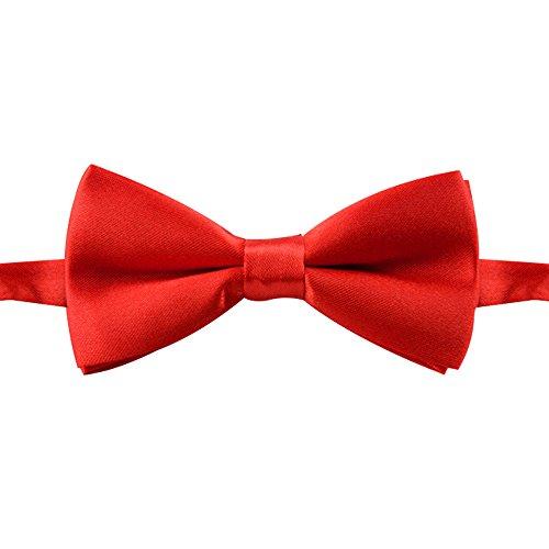 Pinzhi Ensemble Bowtie pour homme et garçon - Solide - Mode mariage - Papillon - Cravate - Rouge