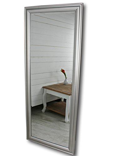 elbmöbel 150 x 60cm Wandspiegel groß in Silber mit schlichtem Holz-Rahmen