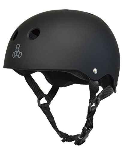 Triple Eight Sweatsaver Liner Skateboarding Helmet, All Black Rubber, Medium