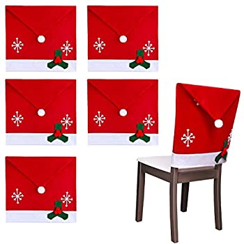 ADXCO 6 Pack Christmas Dining Chair Slipcovers Chair Back Covers Snowflake Decoration Snowflake Design for Christmas Banquet Holiday Festival Decor