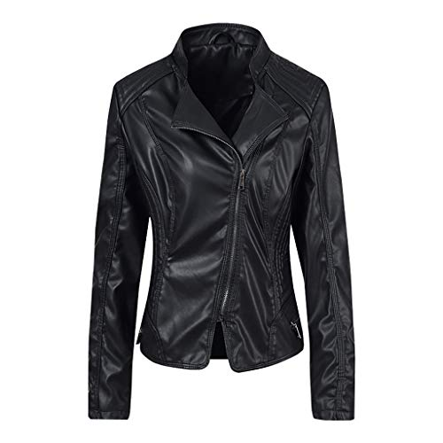 MrTom Chaqueta Moto Mujer Cuero Imitacion Invierno Cazadoras Militar Abrigo Biker Jacket...