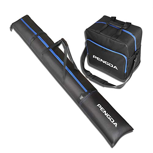 PENGDA Skisack und Skischuhtasche für 1 Paar Ski bis 200cm und Schuhgröße 47 + Stöcke + Schuhe + Helm Kombi Set Skitasche und Stiefeltasche Schuhtasche für Reisen