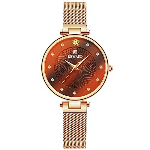 RORIOS Moda Mujer Relojes Impermeable Cuarzo Reloj con Correa en Acero Inoxidable Reloj de Pulsera Casual Relojes por Mujeres Chica
