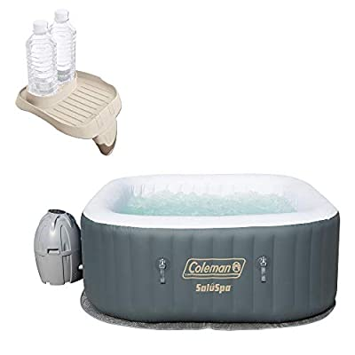 Coleman SaluSpa 4 Person Inflatable AirJet Hot Tub with Attachable Cup Holder