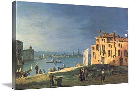 Imagekind Canvas Wall Art Print Decor Entitled View of Venice (Oil On Canvas) by Canaletto by The Fine Art Masters | 16 x 9