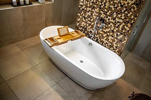 ECOLAM exklusive freistehende Badewanne Standbadewanne moderne Wanne freistehend Adele 180x82 cm + Bambus Ablage + Ablaufgarnitur Design Acryl glamour weiß