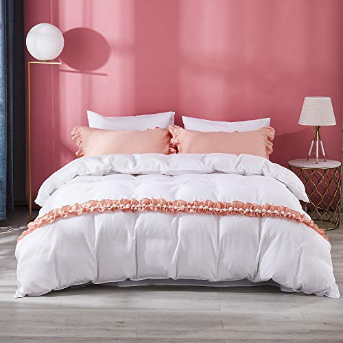 TEALP Princess Bedding Butterfly Bowtie Girls Bedroom Duvet Cover Set Hyperallergic Home Decor Cute Pinkish Shabby 3pcs,Orange,Queen