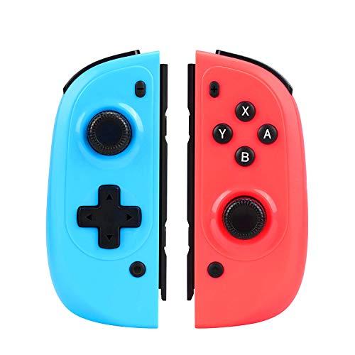 RHSWETS Mando Joy Con para Switch, Set de 2 Reemplazos de Mandos Inalámbrico con Bluetooth del Nintendo Switch, Dual Shock, Giro de 6 Ejes (Azul y Rojo)