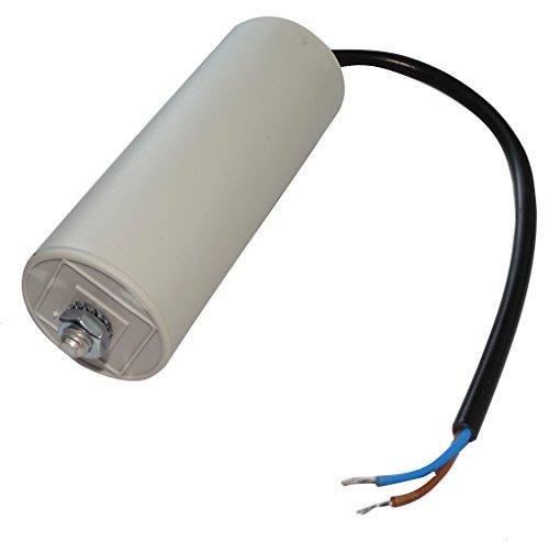 Aerzetix: Permanenter Arbeitskondensator für Motor 50μF 400V vorverdrahtet Ø45x117mm ± 5% 10000h C18740