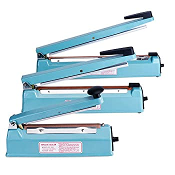 Fuxury 16 Inch Impulse Bag Sealer with Cutter Heat Sealer Machine Closer for Cookies Manual Hot Sealing Machine for Poly Bag & Shrink Wrap with 2 Free Repair Kit  Blue