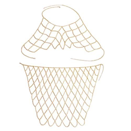 Harilla Backless Bra Tassel Body Waist Chain Multi Layer Bikini Traje De Baño - Plata - Dorado
