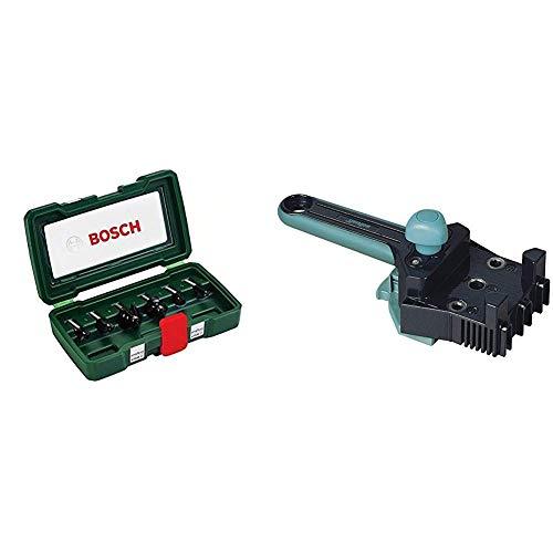 Bosch DIY 6tlg. Fräser-Set HM (Ø 8 mm) & wolfcraft Meisterdübler Universal-Dübelhilfe 4640000 | Praktische Dübelhilfe für saubere Eck-, T- und Flächenverbindungen