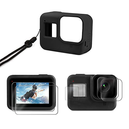 Deyard Accessories Kit Compatible with GoPro Hero 8 Black, with Silicone Rubber Protective Case + 4pcs Ultra Clear Tempered Glass Screen Protector + 2pcs Display HD Lens Protector