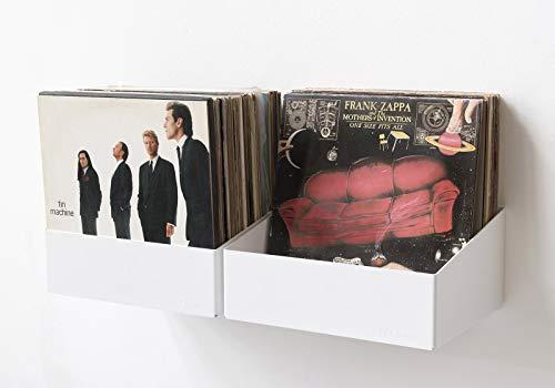 #04 TEEbooks Scaffale Porta vinili - Set di 2 mensole - Acciao - Bianco - 15 x 25 x 32 cm