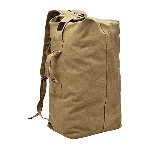 VRIKOO Cylinder Canvas Travel Backpack Large Capacity Duffel Shoulder Bag Outdoor Sport Hiking Rucksacks