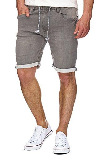 Indicode Herren Kadin Sweatshorts mit 5 Taschen aus 82% Baumwolle | Kurze Hose Used-Look Shorts mit Denim-Optik Sommerhose Short Sweat Pants Jeans-Look Freizeithose für Männer Grey XL