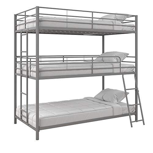 Max & Finn Altona Metal Triple Bunk Bed, Bed for Kids, Twin/Twin/Twin, Silver