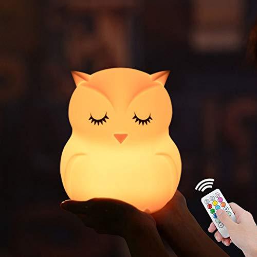 XHSHLID Uil LED Night Light afstandsbediening touch sensor 9 kleuren dimbaar timer USB cartoon bedlampje gemaakt van siliconen voor kinderen kinderen kinderen