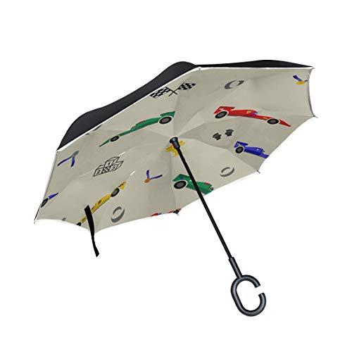 Double Layer Inverted Mens Umbrella Faltgeschwindigkeit Sport Rennwagen Wiederholter Reverse Umbrella Auto Fold Umbrella Winddichter UV-Schutz für Regen mit C-förmigem Griff