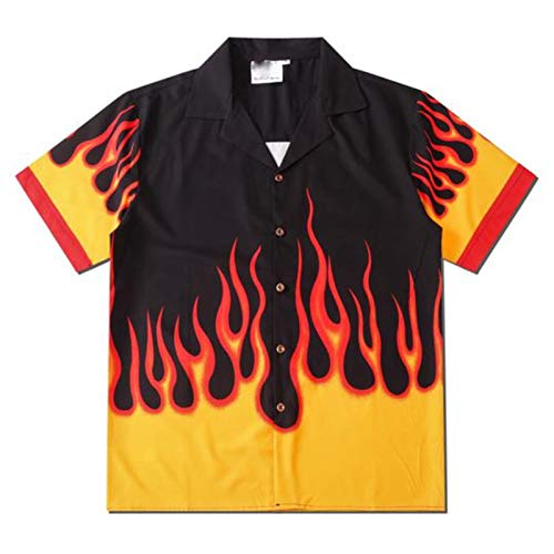 fpengfashion Herren Harajuku Flamme Grafik Button Down Hemd für Frauen Jugendliche Hip Hop Slim Fit Vintage Hawaii T-Shirt Gr. X-Large, YellowBlack