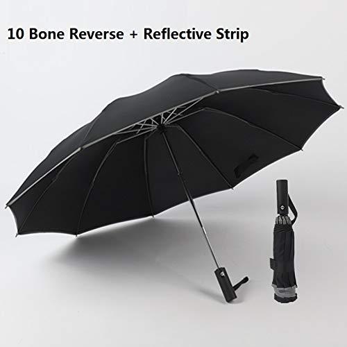 Dubbellaagse paraplu, dubbel, volautomatisch, omgekeerd, reflecterend, opvouwbare band paraplu, veelzijdig inzetbaar. 103x63cm A2