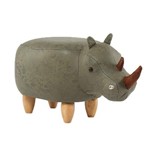 LINGZHIGAN Kreative Rhinoceros Fußbank Massivholz Schuhe Bank Sofa Ottoman Möbel Test Schuhe Hocker Lagerung Lagerung Hocker (Farbe : Gewöhnlich)