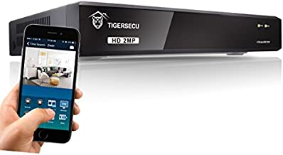 TIGERSECU Super HD 1080P H.265+ 4-Channel Hybrid 4-in-1 DVR Security Recorder Without Hard Drive, for 2MP TVI/5MP TVI/AHD/CVI/Analog Cameras (Cameras and Hard Drive Not Included)