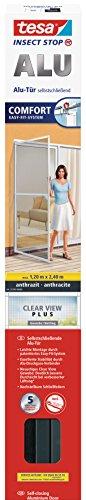 tesa® vliegenhor ALU Comfort deur XL, antraciet, 1,2m: 2,4m Vliegengaas. 1,2m:2,4m 1,2 m: 2,4 m.