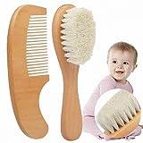 MZY1188 Brosse à Cheveux bébé avec Manche en Bois,Ensemble de Brosse et Peigne en Bois Naturel 2pcs, kit de bébé pour Enfants de Soins de Cheveux de chèvre Super Doux