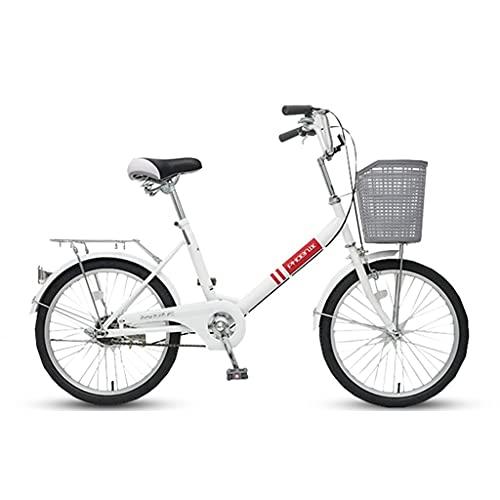 ZXQZ Bicicleta de 20 Pulgadas, Bicicleta de Carretera con Freno, Conveniente Herramienta de Transporte para Adultos Y Niños (Color : White)