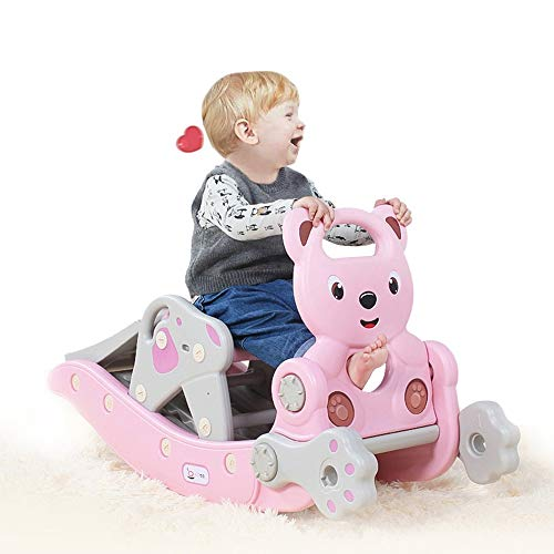 4-in-1 Baby Rocking Horse Slide Set - Child Climbing & Rocking Hors Suit Include Smooth Slide/Swing/Basketball Hoop/Ferrule for Ages 1-6 Years Kids Boys & Grils Xmas Gift (Pink 31.88x14.17x8.26in)