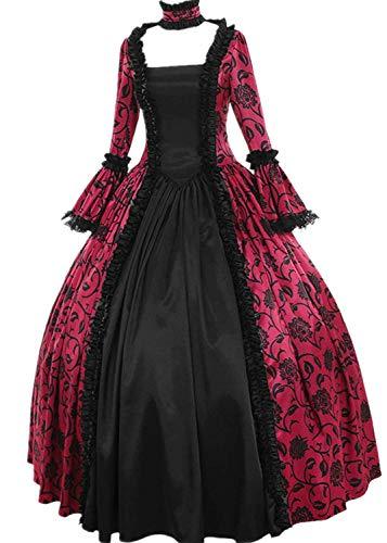 Lazzboy Frauen Retro Mittelalter Party Prinzessin Renaissance Cosplay Spitze Bodenlanges Kleid Langarm Viktorianischen Königin Kostüm Maxikleid(Y-Pink,4XL)