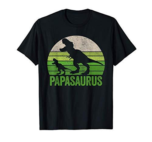Ropa vintage de Papasaurus Dad, Funny Papa Dos Dinosaurios Camiseta