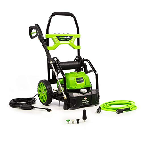 Greenworks 5103702 1950 PSI 1.2 GPM Open Frame Electric Power Cleaner Pressure Washer with 20 Foot Hose Reel & 35 Foot GFCI Power Cord