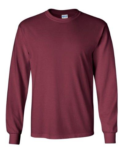 Gildan - Adult Ultra Cotton Long-Sleeve T-Shirt (G2400), Maroon, XXX-Large