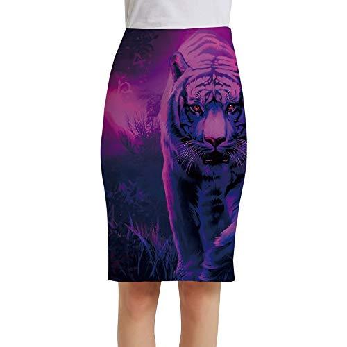 LIUYUNN Falda Midi De Mujer,Forest Animal Tiger Printed Ladies Faldas De Tubo De Cintura Alta Midi Bodycon...