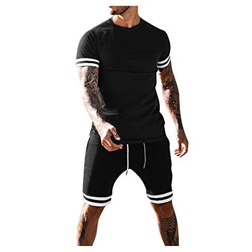 XUEBing Los hombres de verano de 2 piezas conjuntos de chándal casual playa patchwork manga corta camisas y pantalones cortos conjuntos para caminar trajes conjuntos