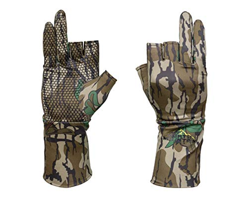 North Mountain Gear Mossy Oak Camouflage Hunting Glove - Lightweight Glove Liner (Fingerless Greenleaf)