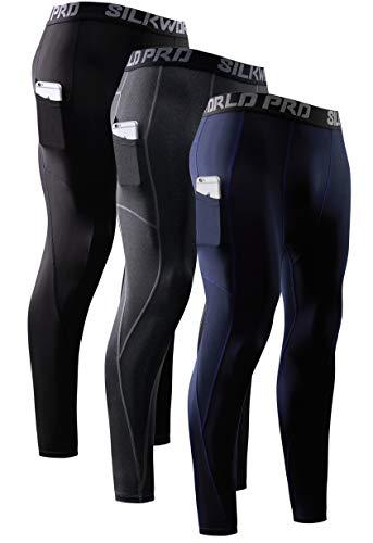 SILKWORLD Men's Compression Pants Pockets Cool Dry Running Leggings Athletic Tight Baselayer, 0731/3 Pack_Black,Navy,Hemp Grey, Medium