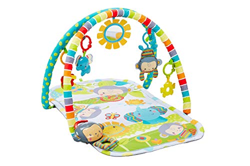 Fisher-Price Gimnasio Musical Monitos Divertidos, manta de juego para bebé (Mattel CLJ42)