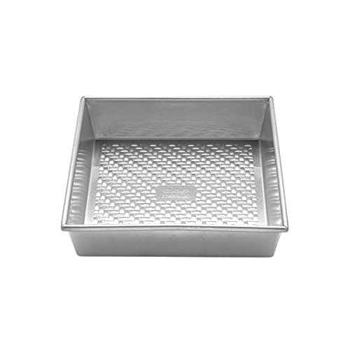 Chicago Metallic Uncoated Textured Aluminum Square Cake Baking Pan, 9-Inch, Silver