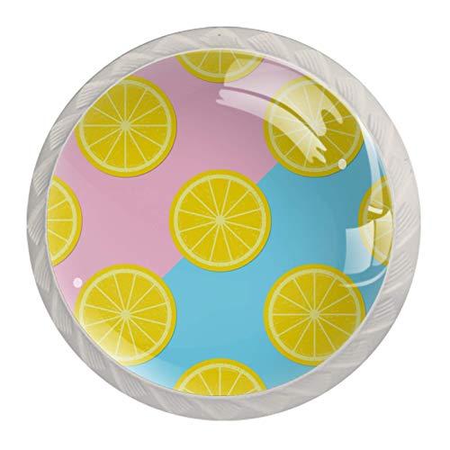 4 tiradores redondos de cajones de color vintage, con diseño multicolor, cítricos y frutas de limón