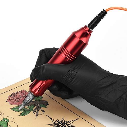 Rotary Tattoo Machine, ATOMUS Tattoo Pen Style Cartridge Machine Gun Liner Shader with DC Cord 9000r/m Motor Zinc Alloy Tattoo Machine Kit for Body Art Tattoo (Red)
