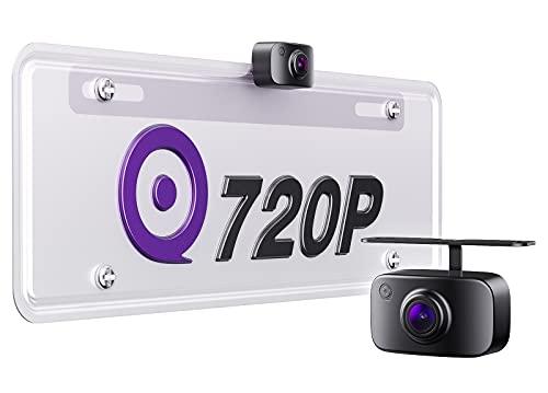 eRapta ERT11 Backup Camera License Plate Rear View Reversing Camera for Car Pickup Truck SUV RV Van 720P HD Front/Rear Camera with 149˚ Wide View Starlight Night Vision IP69 Waterproof