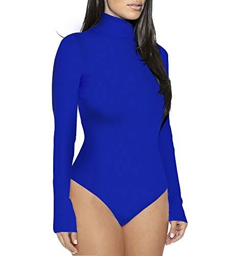 Glücklicher Käufer Damen Ballett Trikot Tanz Kleidung Womens Body Langarm Rollkragen Bodysuit (Blau, S)