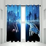 QIYI Cortinas opacas con ojales, juego de 2 paneles, con aislamiento térmico, cortinas para puerta de patio, cortinas con anillas superiores, decoración de habitación, 130 x 200 cm