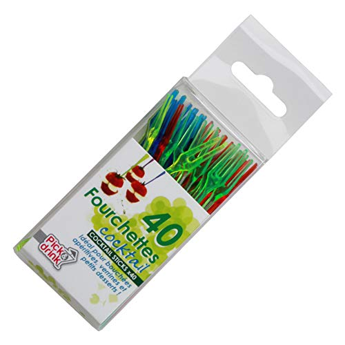 Take Away CMKV7071 Set 40 Mini Tenedor Aperitivo, Vert/Bleu/Rouge/Jaune/Violet/Vert Clair