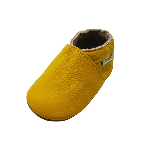 SAYOYO Baby Soft Sole Prewalkers Skid-Resistant Baby Toddler Shoes Cowhide Shoes (6-12 Months, Yellow)